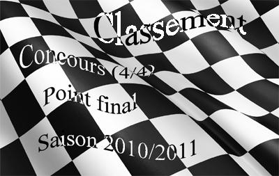"""Classement """"HONNEUR"""", Concours, """"point final"""" saison 2010/11 (4/4)"""