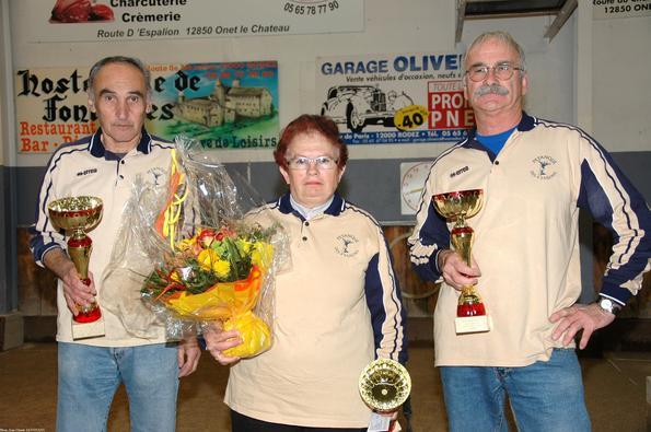 Les finalistes: Gilbert FERNANDEZ,  Francine THURIES et Raymond CERCHI (Quatre-Saisons PC)