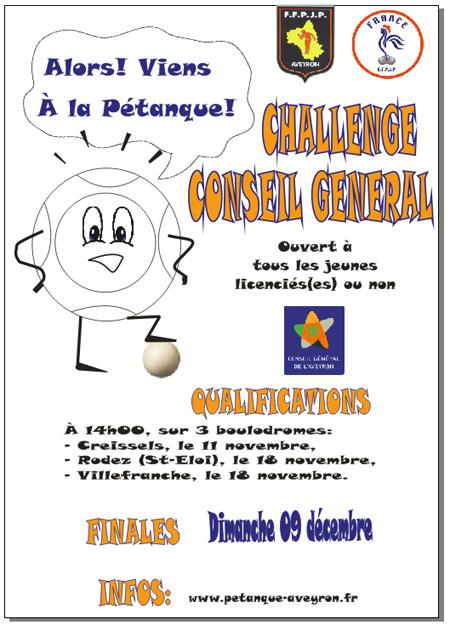Challenge Conseil Général jeune, finales (màj09/11)