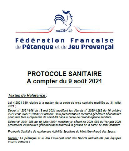 Protocole sanitaire 9/08 Maj 2