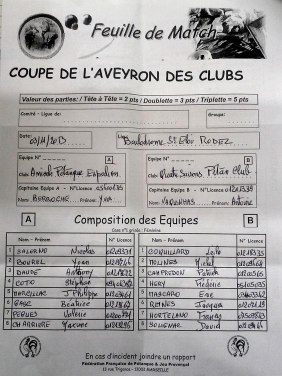 Finale Coupe de l'Aveyron des clubs(màj4/11)