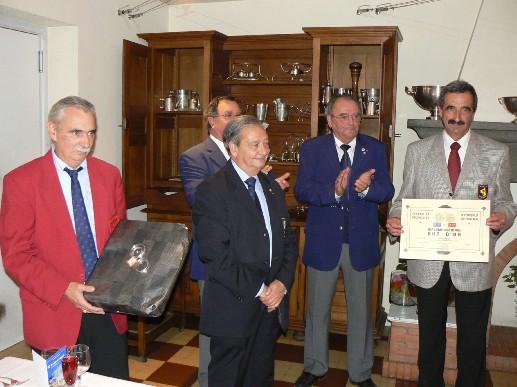 de g à d : Alain Garcés (Président Ligue), J-Claude Dubois (membre FFPJP), Jacques Théron (vice-président FFPJP), André Laurens (CD 31) et Michel Gantou (Président CD 12)