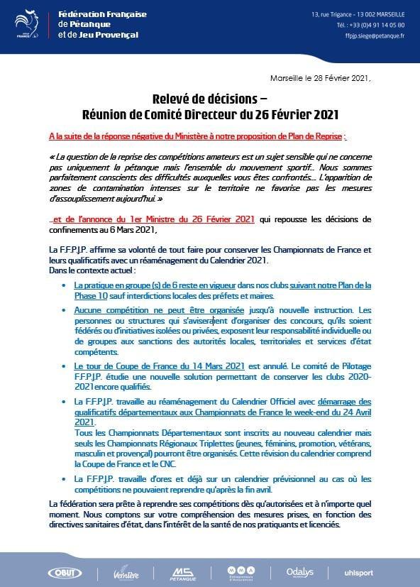 Relevé décisions 26/02/2021