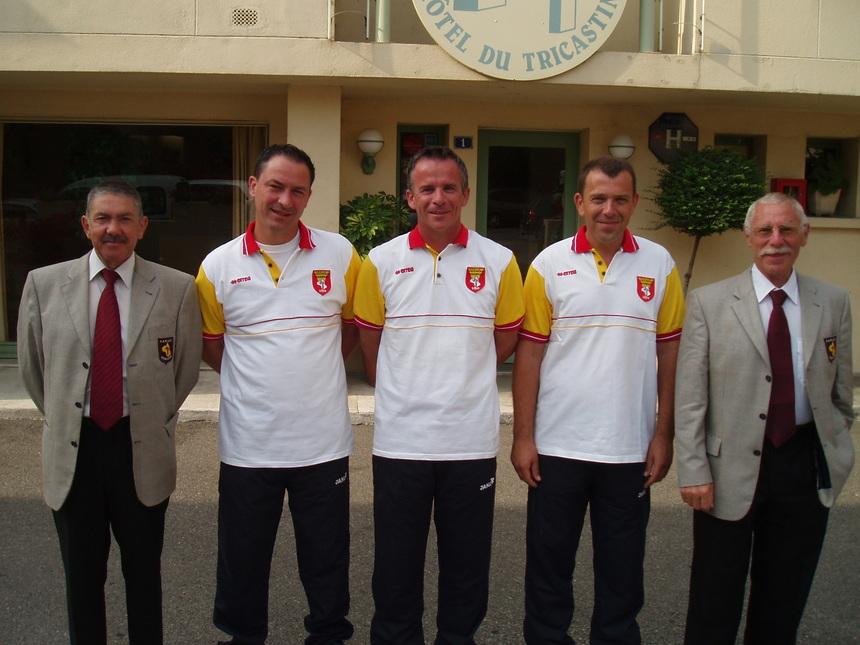 La délégation aveyronnaise : André Algans-Didier Goncalvés-Jean-Pierre Mas-Laurent Morillon-Christian Mercier